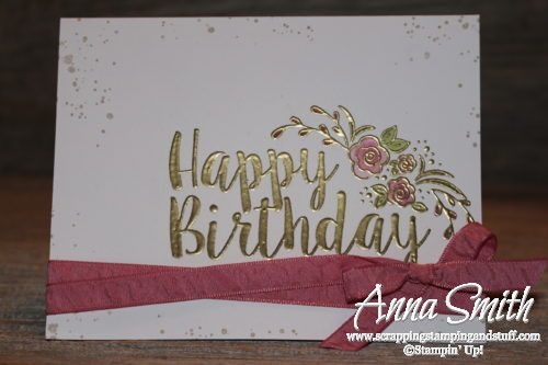 Pretty gold embossed birthday card using the Stampin' Up! Big on Birthdays stamp set