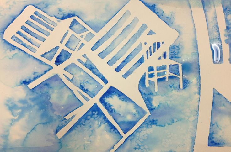 Negative Space Watercolor Paintings