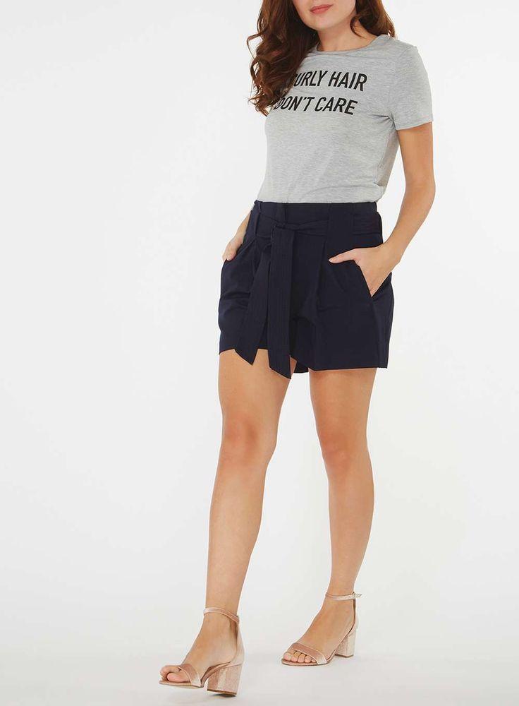 Womens Grey 'Curly Hair Don't Care' Slogan T-Shirt- Grey