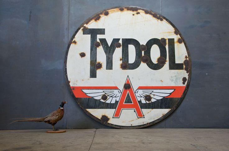 USA, c.1910. Vintage Round Winged Porcelain and Steel Gas Station General Store Mercantile Sign. Monumental Size. Tydol. Patina, and Extensive History. Bigger then the previous GULF sign.    Dia: 6 Feet *(72 in.)