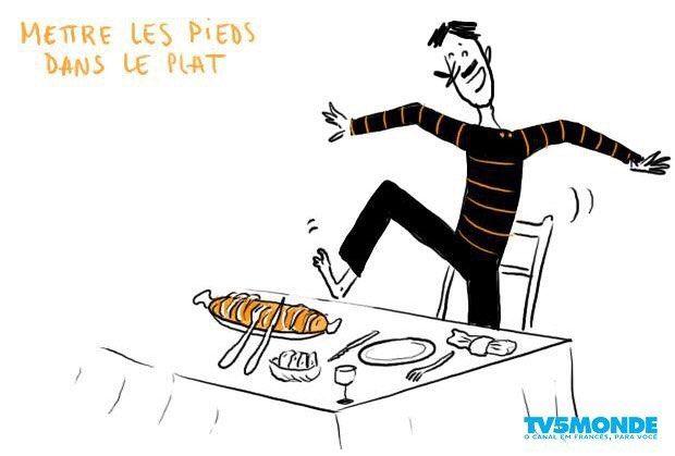 """#ExpressionDuJour #ExpressãoDoDia #FrancêsComTV5 #Français #TV5MONDEBrasil Savez-vous ce que signifie l'expression: """"Mettre les pieds dans le plat""""? Vocês sabem o que significa a expressão """"Mettre les pieds dans le plat""""?"""