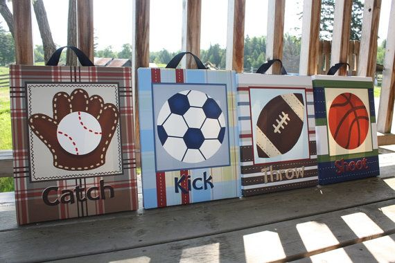 Set of 4 Patterned CANVASES All Star Lil MVP Sports Boys Bedroom 11x14 Kids Stretched  Canvas Wall Art