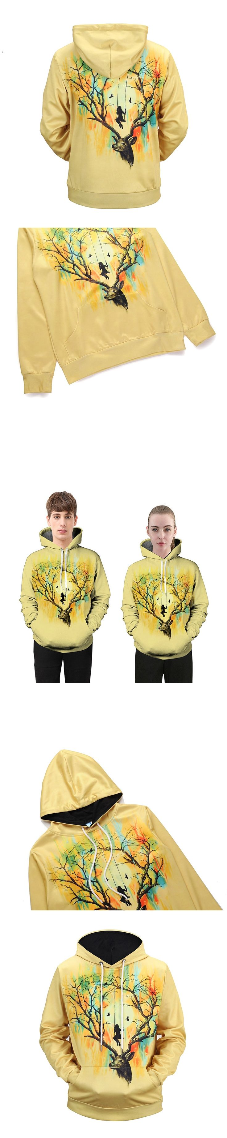 2018 New Digital Elk 3D Digital Couple Clothes Sweatshirts Coat