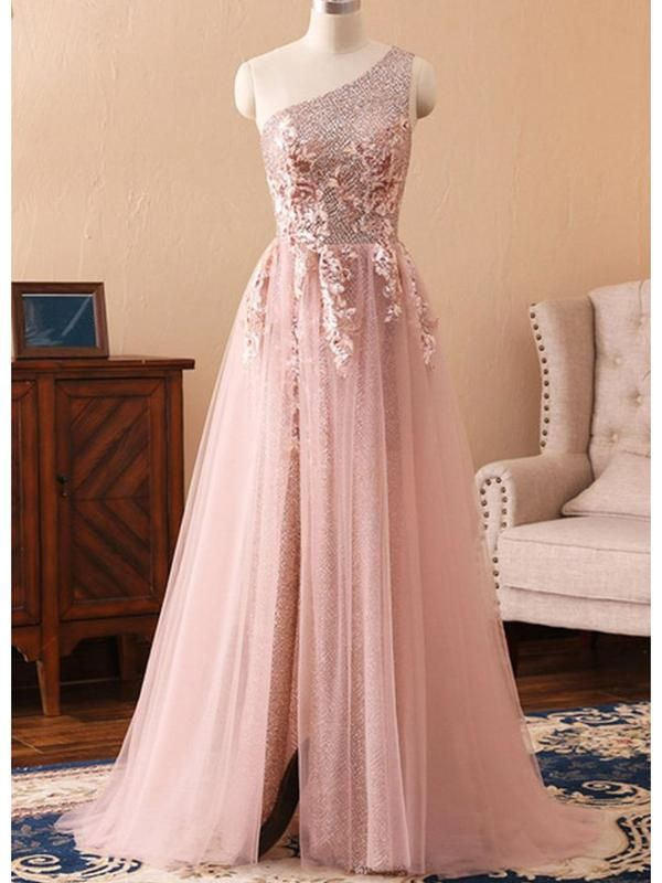 One Shoulder Rose Gold Prom Dresses Pink Tulle Maxi Formal