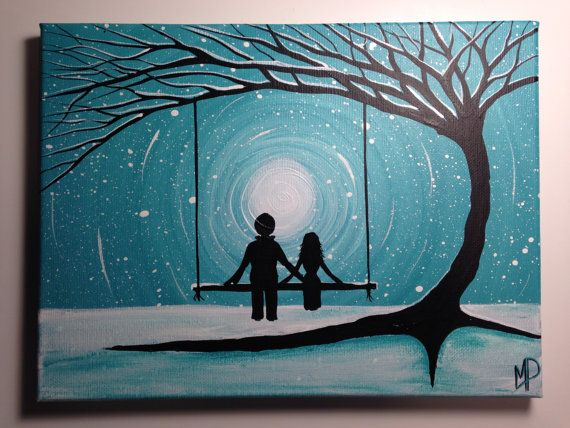 Couple On Swing What Can I See 12 X 9 Acrylic By Michael