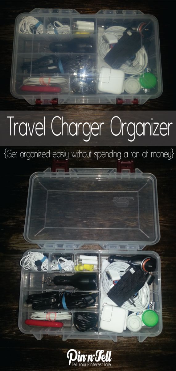 Tired of electronics cords getting tangled or lost when you travel? This easy DIY charger organizer is for you! #organize #travel