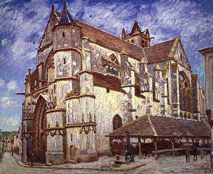 The church of Moret-sur-Loing by Alfred Sisley the evening