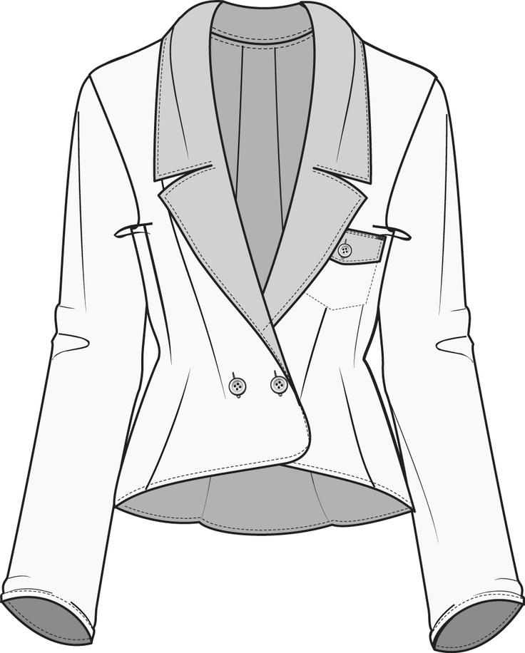 Line Drawing Jacket : Flat fashion sketch jacket design