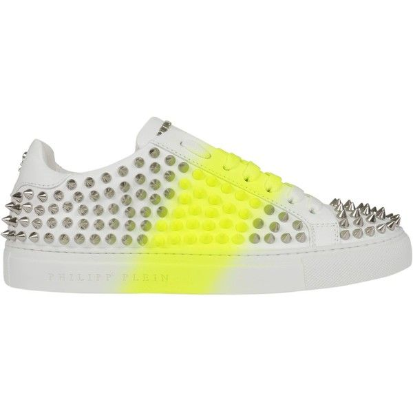 Studded Platform Sneakers ($1,040) ❤ liked on Polyvore featuring shoes, sneakers, white, platform sneakers, philipp plein sneakers, spike trainer, neon sneakers and neon shoes