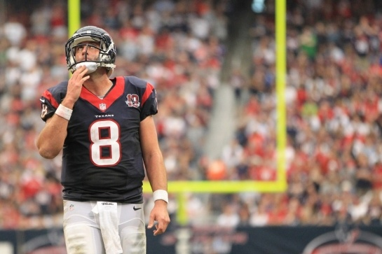 Texans quarterback Matt Schaub reacts after wide receiver Kevin Walter (83) made it to the one-yard line, but the Texans couldn't make it into the end zone during the third quarter. (Karen Warren / Houston Chronicle)
