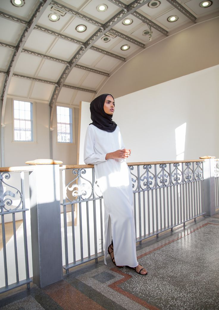 INAYAH   Shirt-Inspired Maxis perfect for Summer wear - Ivory Tailored #Maxi #Shirt + Black Maxi Georgette #Hijab - www.inayah.co