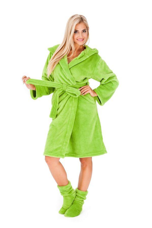 Mäkké dámske zelené župany s kapucňou a ponožkami