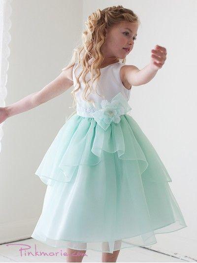 White / Mint Sleeveless Satin Bodice Mirror Organza Girl Dress