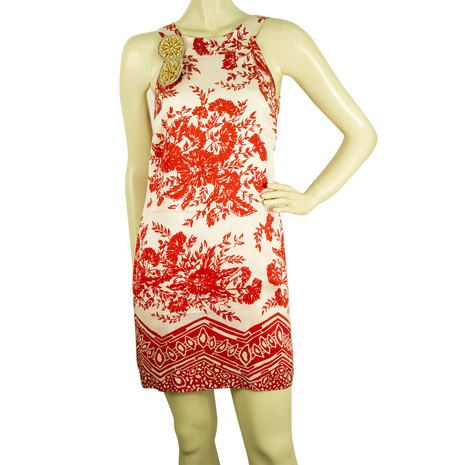Tibi off White and red floral Sleeveless Silk Mini Summer Dress- Sz 4