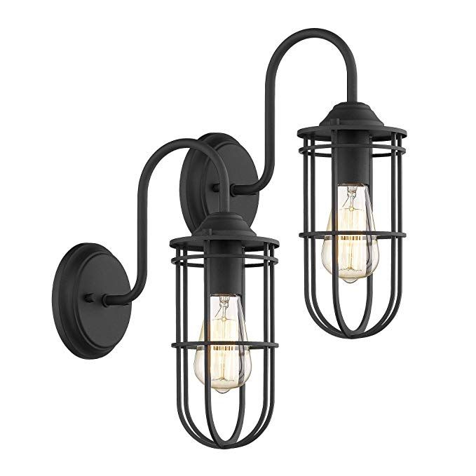 Amazon Com Jazava Industrial Vintage 1 Light Lantern Wall Sconces Gooseneck With Removable Cage Shap Wall Mount Light Fixture Wall Lights Wall Sconce Lighting