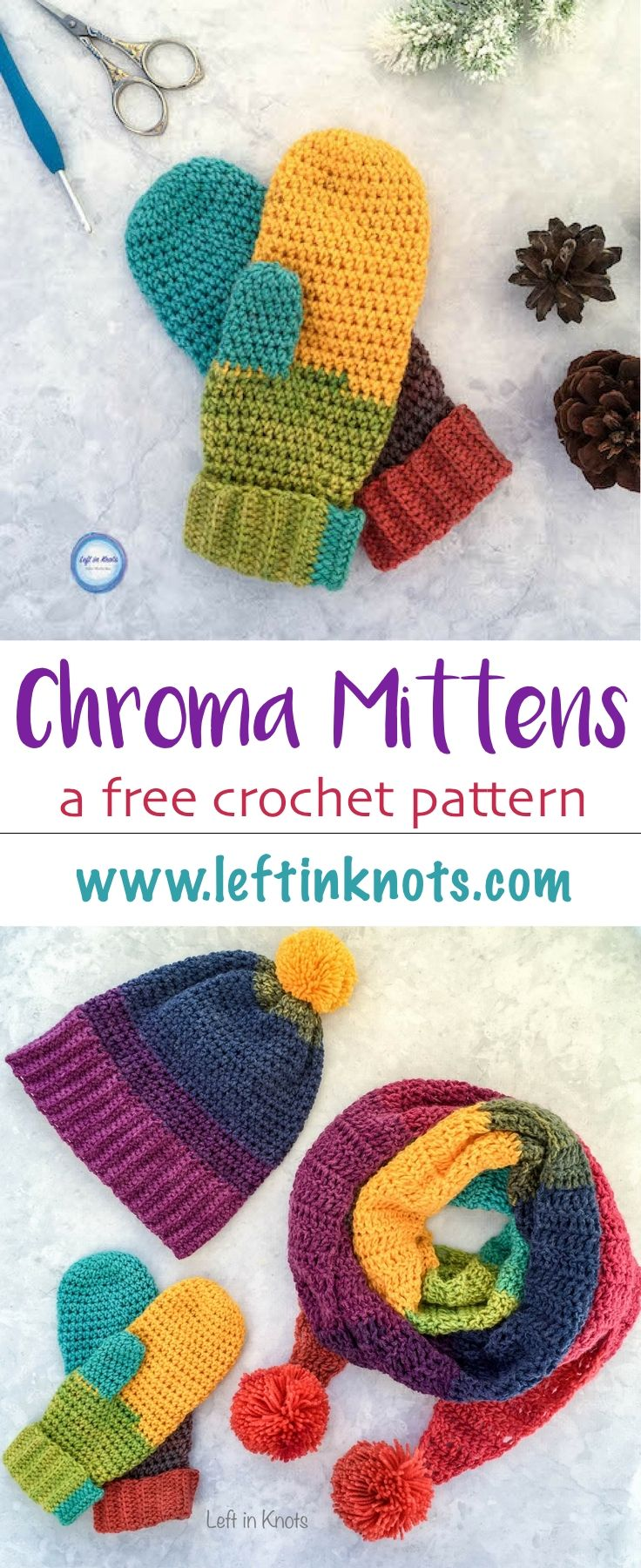 These mittens are part of a free crochet pattern collection called the Chroma Collection. Use Lion Brand Mandala yarn to make the Chroma Mittens! Then make the Chroma Slouch Hat and Chroma Scarf to match. #freecrochetpattern #crochetmittens #lionbrand