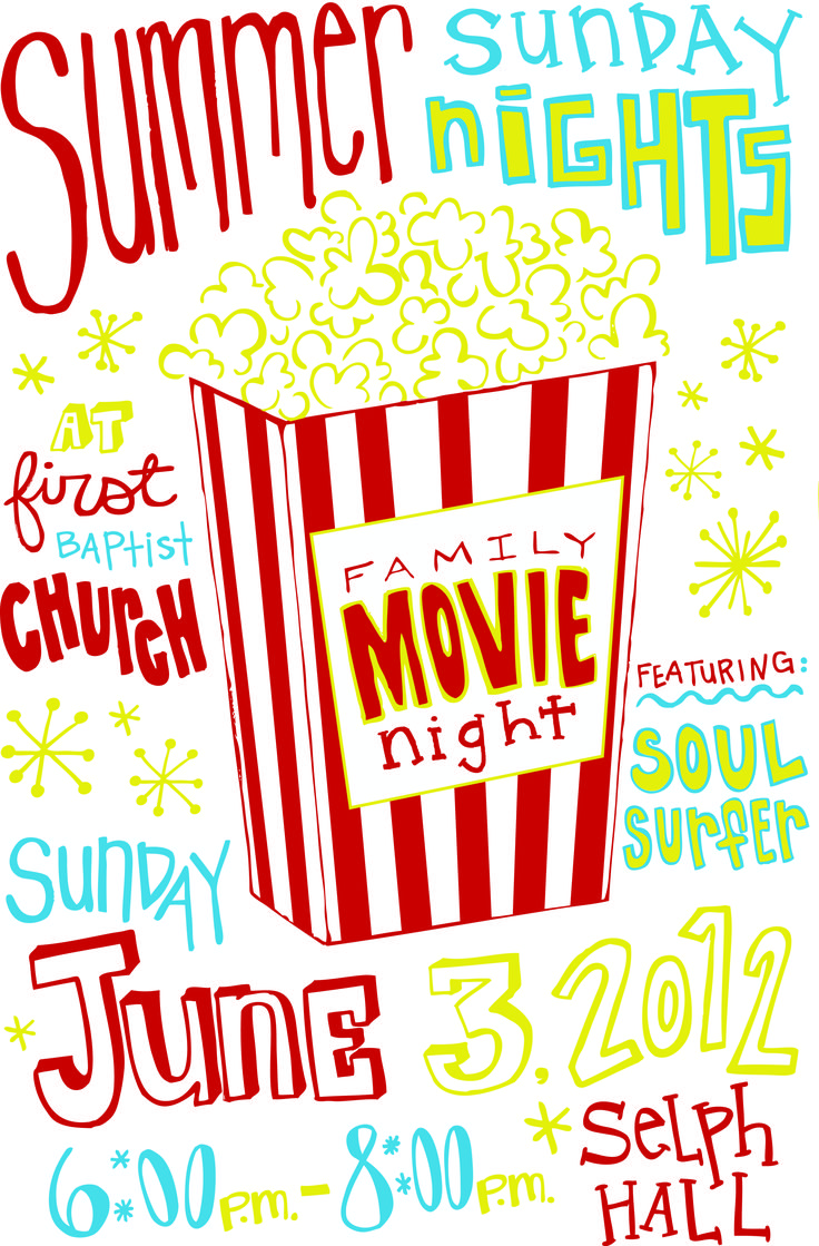 Join us for a FREE film, food & fellowship on June 3rd at First Baptist Church.  We're screening the movie, Soul Surfer, at 6 PM in Selph Hall.  Be There! https://vimeo.com/42658508
