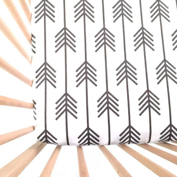Crib Sheet Arrows White. Fitted Crib Sheet. Baby by Iviebaby