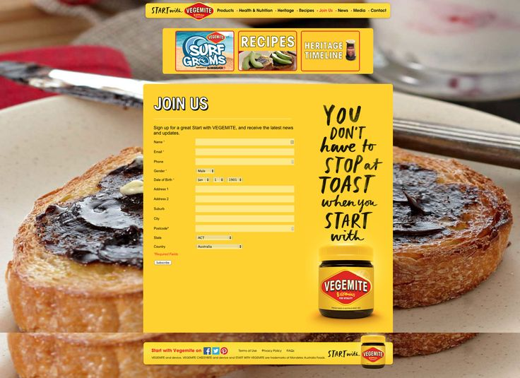 Vegemite Signup Page