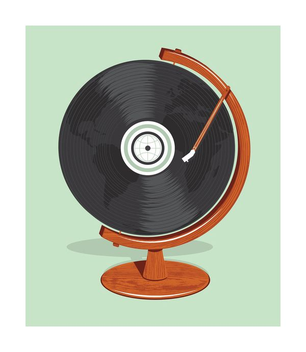 Very creative illustration. Using the vinyl as a globe was an awesome idea and it gives off the message music is worldwide . The light green is also a really clam background color.