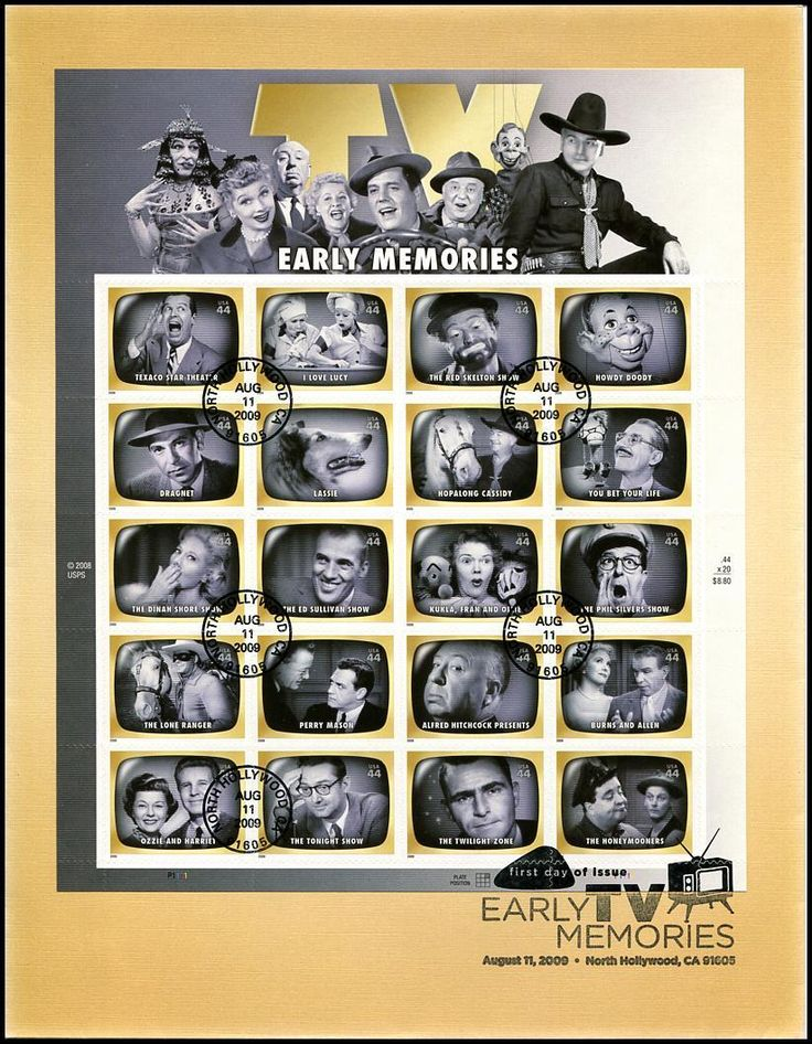 Sheet Includes: 4414a Texaco Star Theater / 4414b I Love Lucy / 4414c The Red Skelton Show / 4414d Howdy Doody / 4414e Dragnet / 4414f Lassie / 4414g Hopalong Cassidy 4414h You Bet Your Life / 4414i The Dinah Shore Show / 4414j The Ed Sullivan Show / 4414k Kukla, Fran and Ollie / 4414l The Phil Silvers Show / 4414m The Lone Ranger / 4414n Perry Mason / 4414o Alfred Hitchcock Presents / 4414p Burns and Allen / 4414q Ozzie and Harriet / 4414r  The Tonight Show / 4414s The Twilight Zone and…