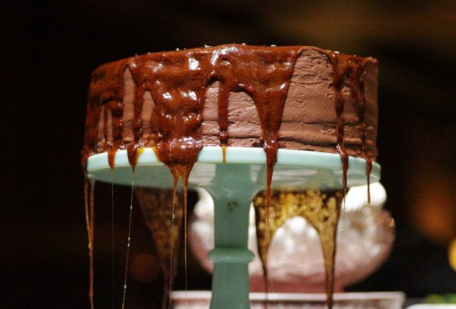 Dobosch Torte, layered sponge cake with chocolate buttercream and dripped hot caramel | Butter Midtown