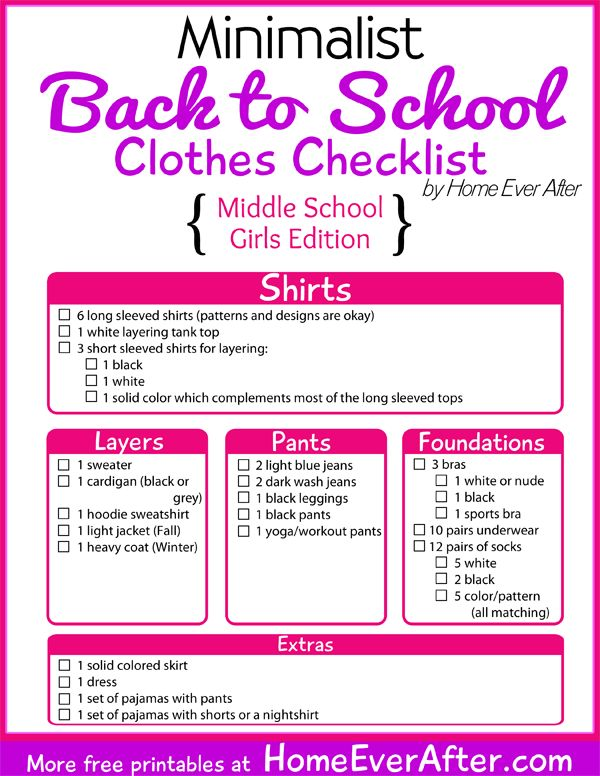 {Free Printable} Minimalist Back to School Clothes Checklist for Middle School Girls
