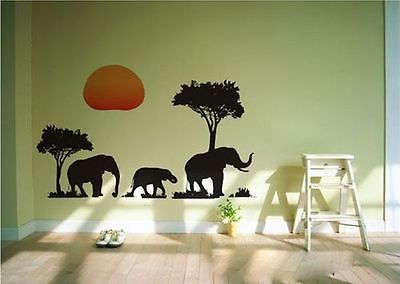DIY AFRICAN ELEPHANTS TREES ART DECAL ANIMAL WALL STICKER DECOR