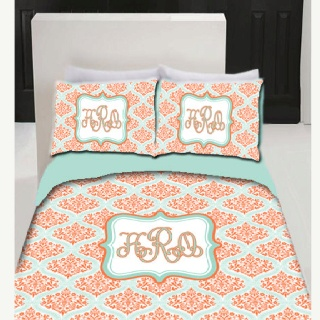 Coral And Turquoise Bedding Damask Bedding Turquoise