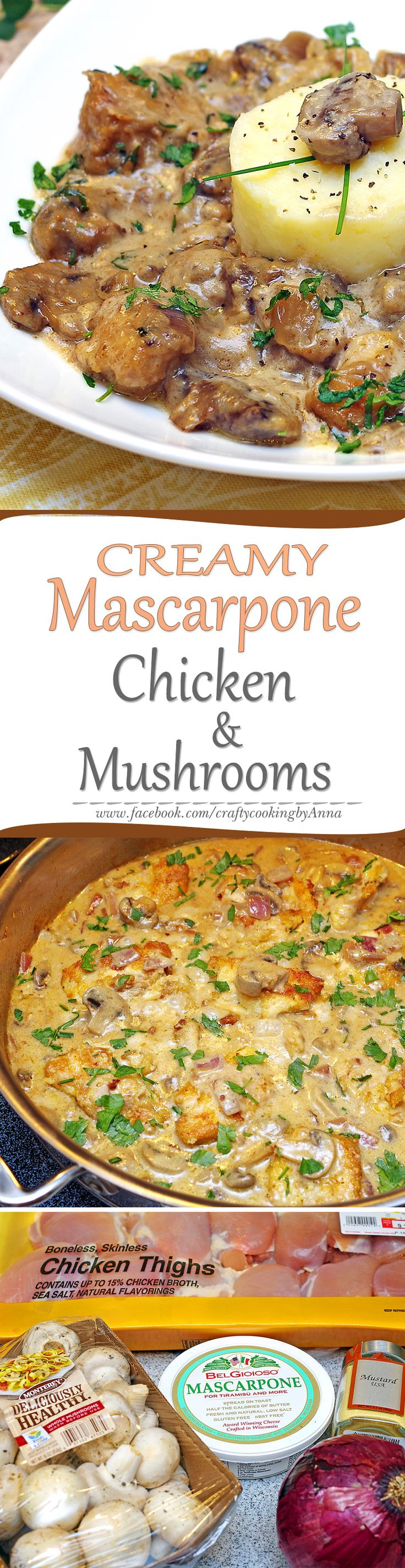 Creamy Mascarpone Chicken & Mushrooms Skillet! #Easy #Delicious #Everyday #Beautiful  #Homecooking #Recipes #Dinner #Breakfast #Lunch #Kids #Foddie #Food #Fresh #Foodfollol #Low-Carb #Low-Cal #Yum #yummy #foodlover #tasty #foodheaven #Hungry #FollowMe #CraftyCookingByAnna If you like my recipes, please Follow Me - http://www.pinterest.com/annavil/  and  https://instagram.com/craftycookingbyanna/ and Join Me - https://www.facebook.com/craftycookingbyAnna  Thank you!