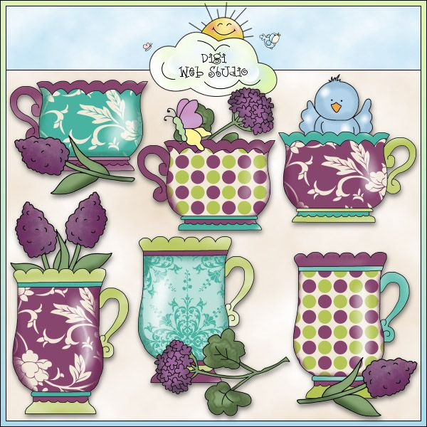 Grandma's Lovely Lilacs Teacups 1 - NE Cheryl Seslar Clip Art : Digi Web Studio, Clip Art, Printable Crafts & Digital Scrapbooking!