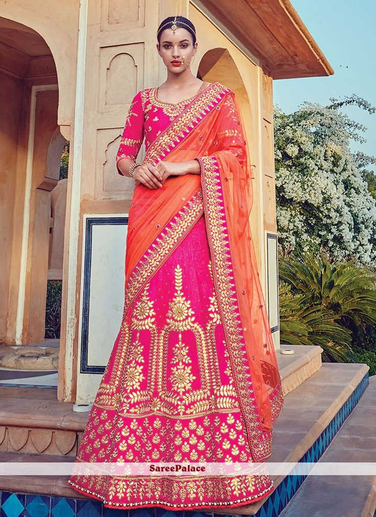 Excellent Raw Silk Hot Pink Embroidered Work A Line Lehenga Choli