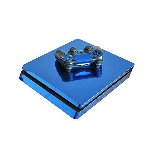 DOTBUY PS4 Slim Vinyl Decal Autocollant Skin Sticker pour Playstation 4 Slim console + 2 Dualshock Manette Set (Glossy Blue)