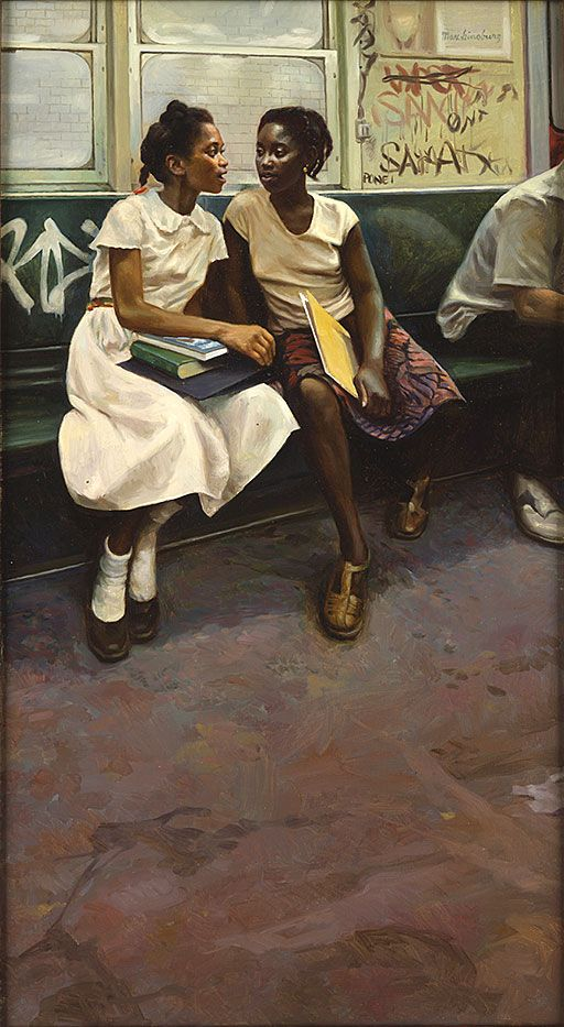 "bookpatrol:  Painting by Max Ginsburg. Used as cover illustration for  ""THE FRIENDS"" by Rosa Guy."