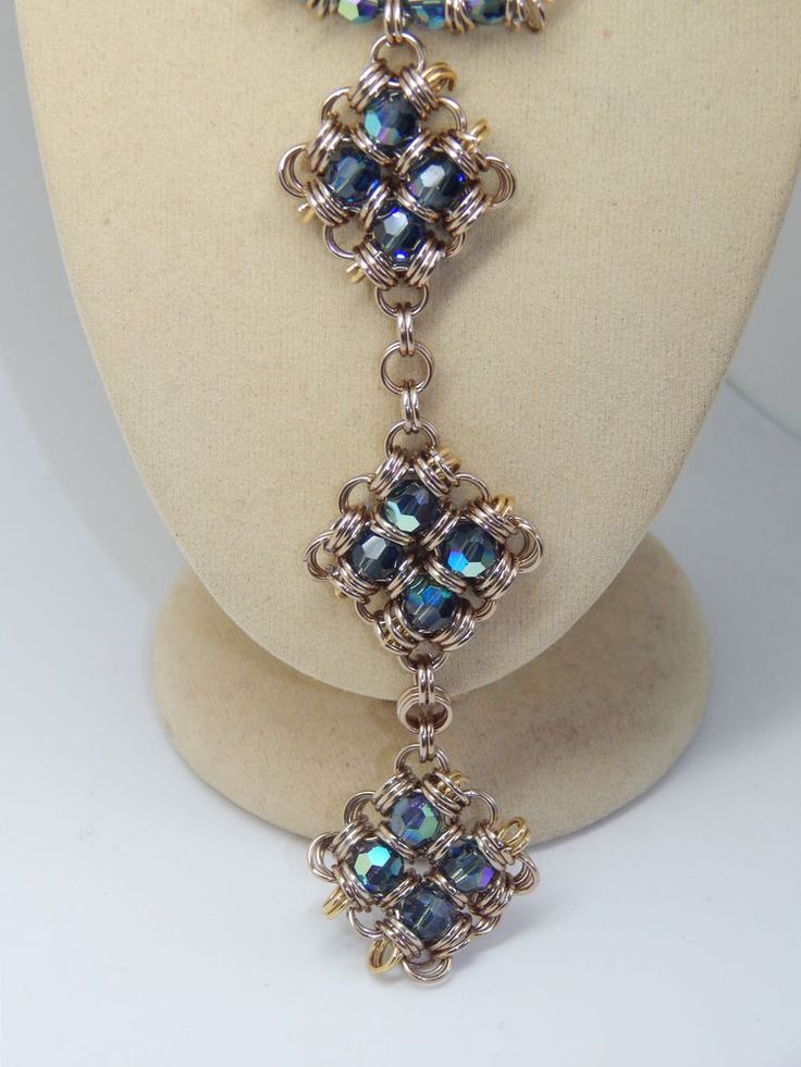 Crystals & Chain Maille Pendants on hand-made Chain Mailles necklace set