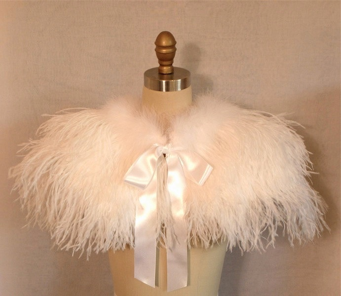 Wedding Bolero, Ostrich Feather Wedding or Evening Bolero, Custom, Wrap, White, Winter White. $425.00, via Etsy.