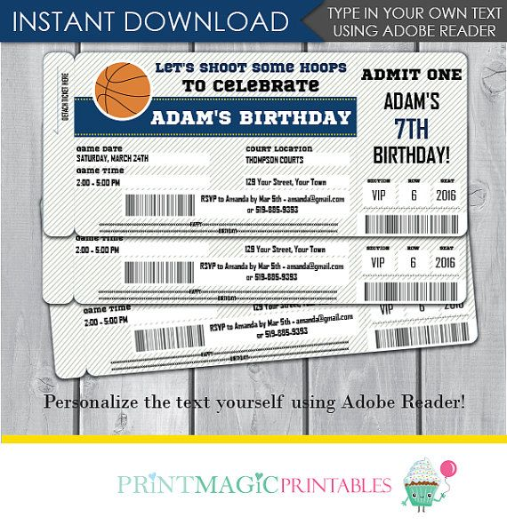 134 best birthday party invitations images on pinterest birthday basketball birthday party invitation editable text by printmagic stopboris Choice Image