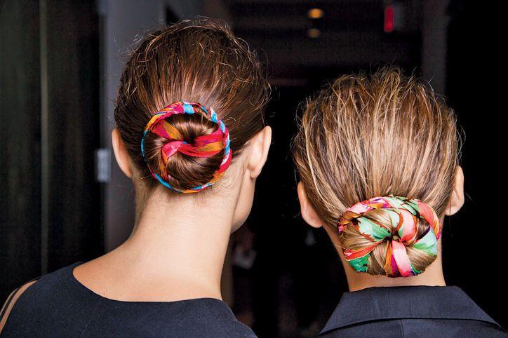 Summer hair idea: wrap a scarf into your bun