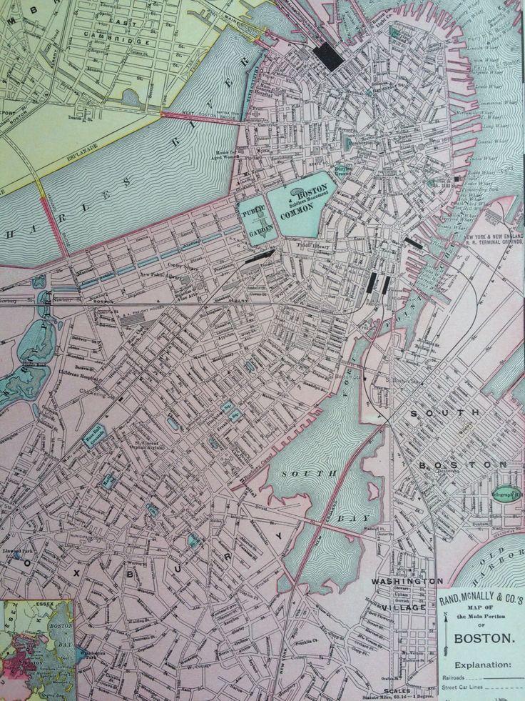 1898 BOSTON Original Antique City Plan Map
