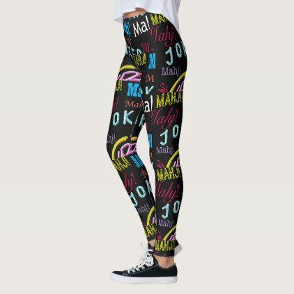 Mah Jongg Black Joker Leggings - black gifts unique cool diy customize personalize