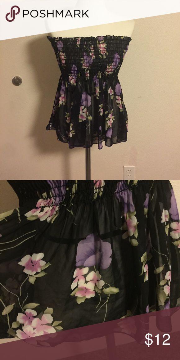 Floral tube Top Sheer black tube Top. With purple flowers. Tops
