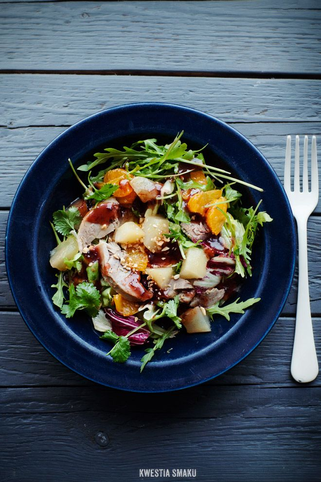 Salad with Duck, Mandarin and Pear Cooked in Ginger Syrup
