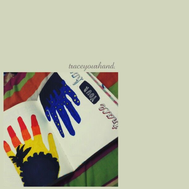 Wreck This Journal (WTJ).trace your hand.