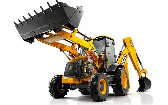 Télécharger fonds d'écran Chargeuse-pelleteuse JCB 3cx, en 2017, la construction de machines, de nouvelles machines de construction, JCB