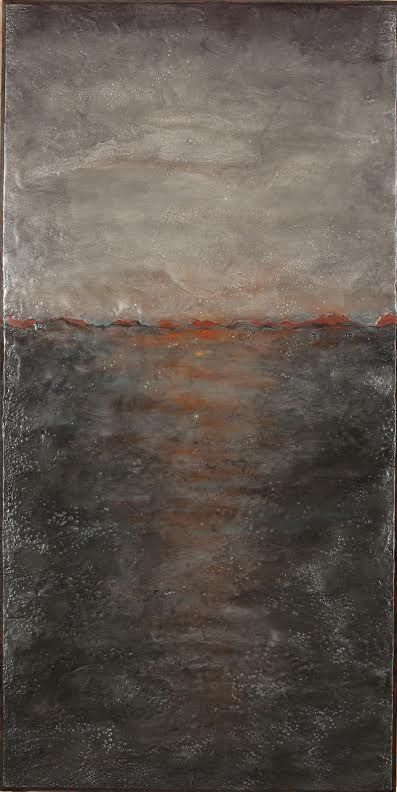 Catherine Eaton Skinner, Moment by Moment  mixed media encaustic, 34 x 17