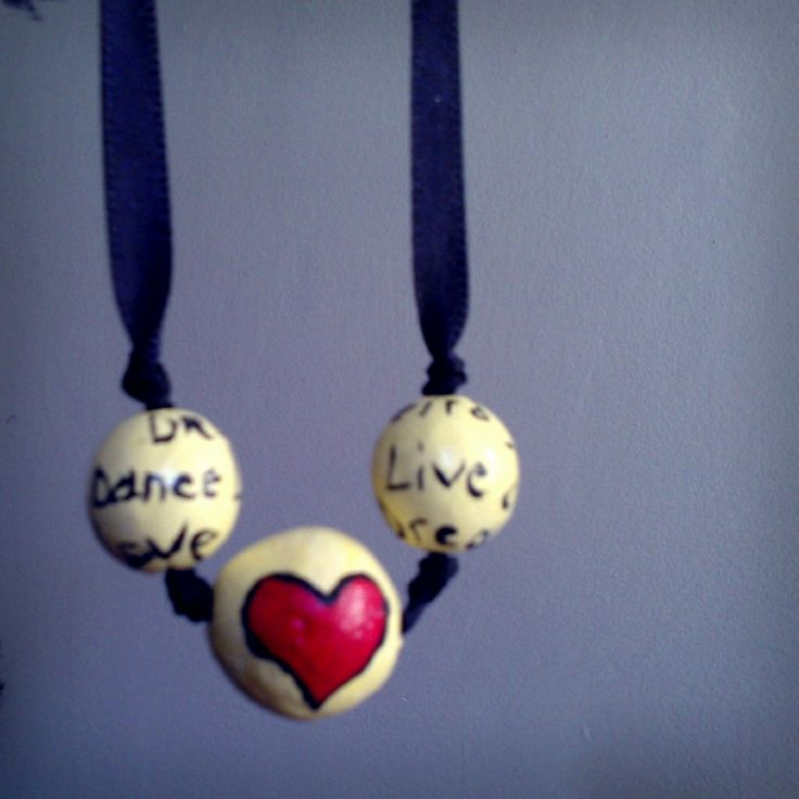 Hart#clay beads#margele lut text