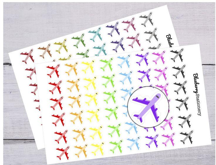 Plane stickers Planner. trip. Cute. Kikki K, Erin Condren, Filofax or any Planner or Project life de la boutique BlueberryStationery sur Etsy