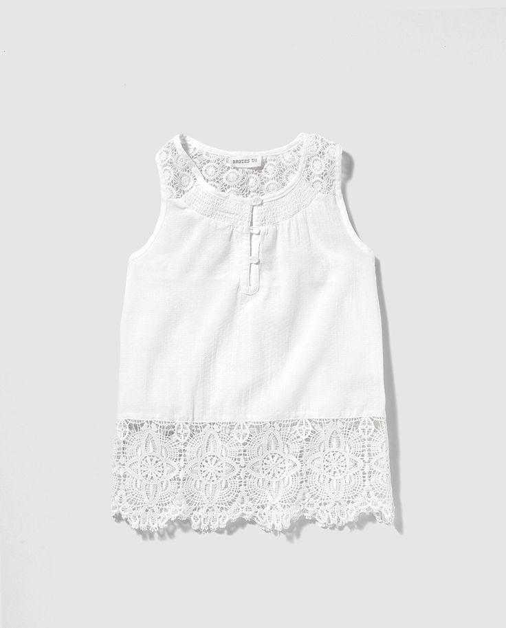 Blusa de niña Brotes en blanco si mangas