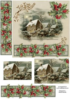 Snowy Christmas with Bookmark on Craftsuprint designed by Diane Hannah - Snowy Christmas with Bookmark. This sheet has pyramid layers, decoupage, and a bookmark for gift giving. - Now available for download!