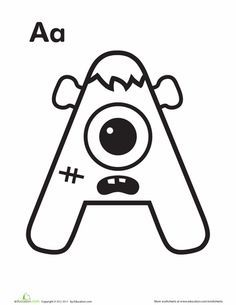 """Worksheets: Monster """"A"""" Full set of letters, all monsters so cute!"""